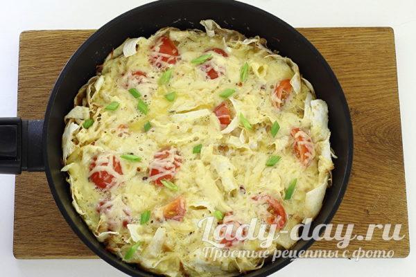 Омлет с лавашом на сковороде