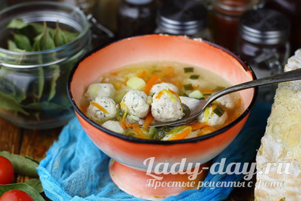 суп с фрикадельками самый вкусный с рисом