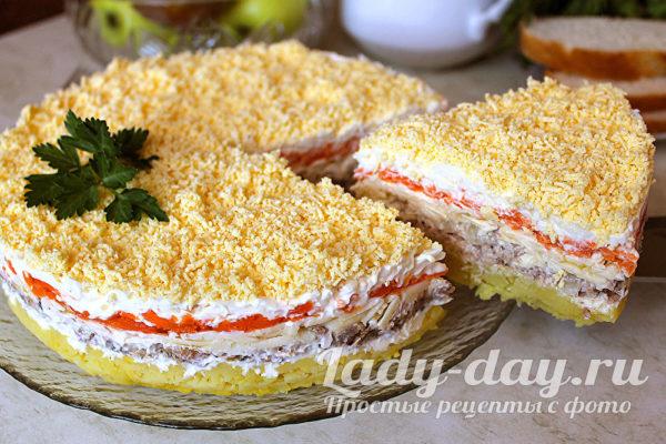 салат мимоза с сайрой классический рецепт пошагово с фото
