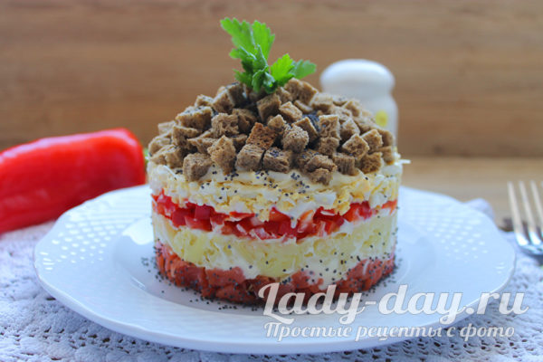 салат с солёной красной рыбой рецепт с фото очень вкусный