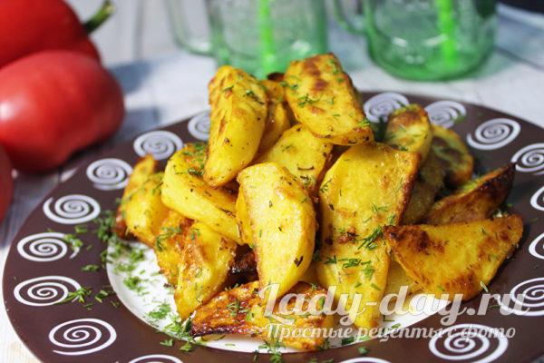 картошка по деревенски в духовке рецепт с фото пошагово