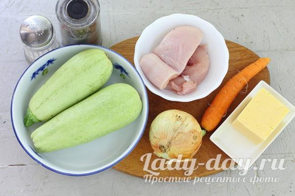 кабачки и куриное филе