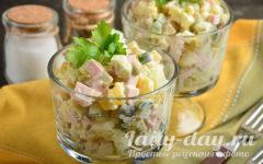 салат оливье с соленым и свежим огурцом