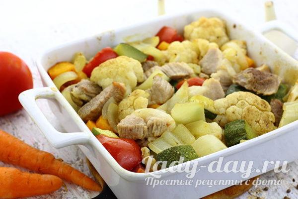 мясо с овощами в духовке рецепт с фото из свинины