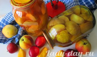 Вкусный компот из сливы и персиков на зиму