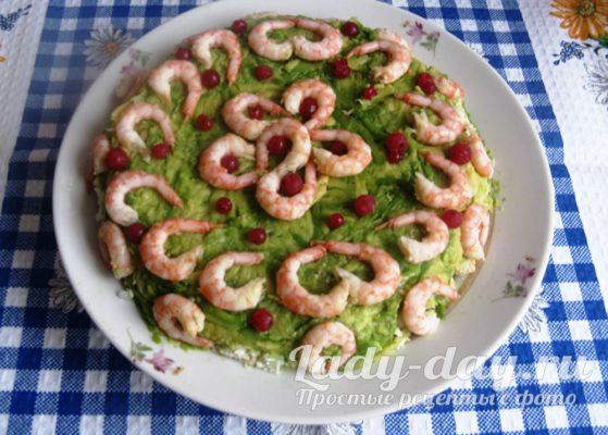 Самый вкусный салат с креветками и авокадо