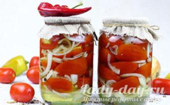 Помидоры с луком на зиму: самый вкусный рецепт на зиму на 1 литровую банку