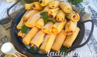 Вкусное печенье трубочки с повидлом