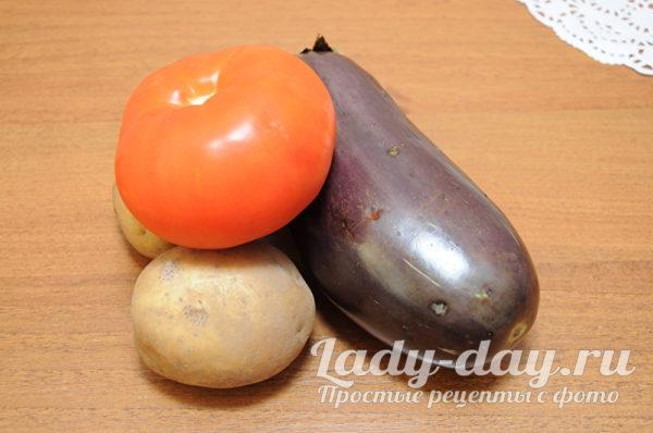 баклажан, помидор, картофель