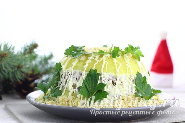 Новогодний салат с куриной печенью