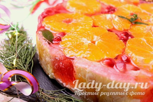 Торт с желе и мандаринами