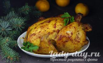 Курица с мандаринами в духовке целиком, с красивой хрустящей корочкой
