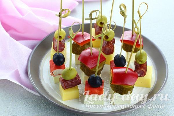 Рецепты канапе на шпажках, на праздничный стол