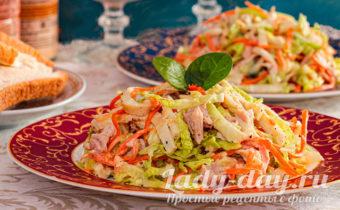 Cалат Анастасия: с корейской морковкой, пекинской капустой и яичными блинчиками