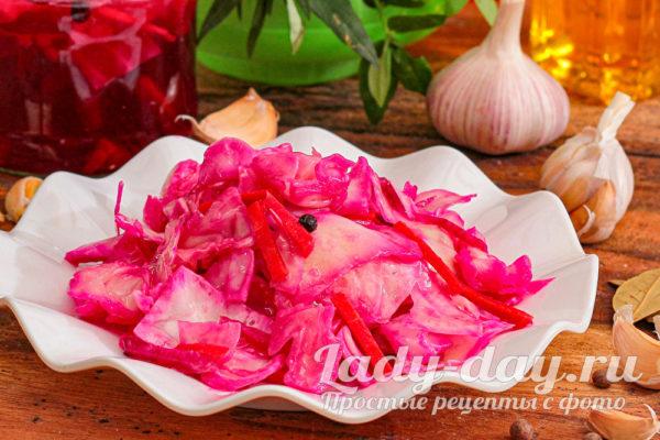 рецепт капусты маринованной со свеклой быстрого приготовления