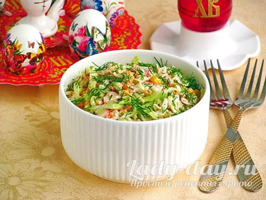 Рецепт салата из капусты с крабовыми палочками и кукурузой