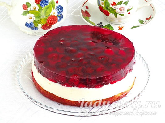 Торт с черешней и желе рецепт с фото пошагово