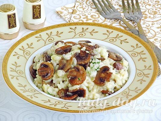 ризотто с грибами на сковороде