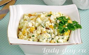Рецепт закуски из плавленого сыра с яйцами и кукурузой